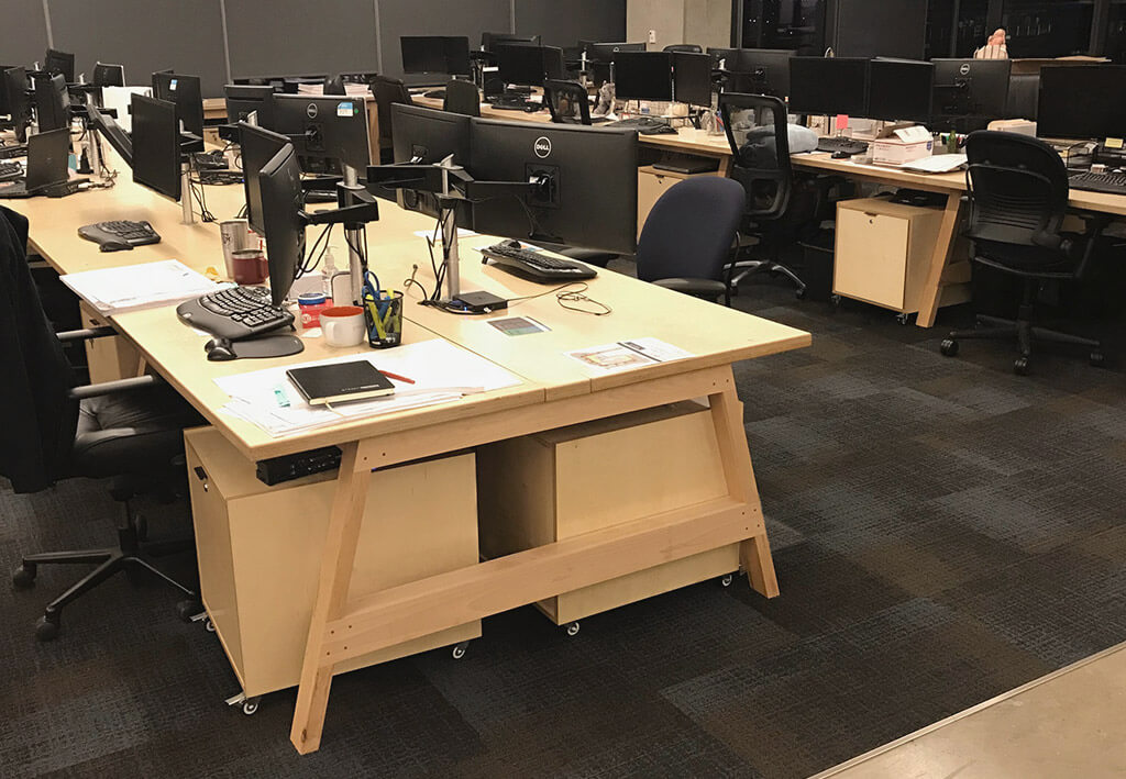 Wood Cubicles Modern Sawhorse Call Center