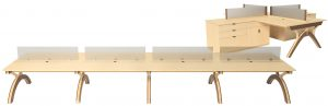 The Modern Sawhorse System — complete benching solutions that fit any decor.