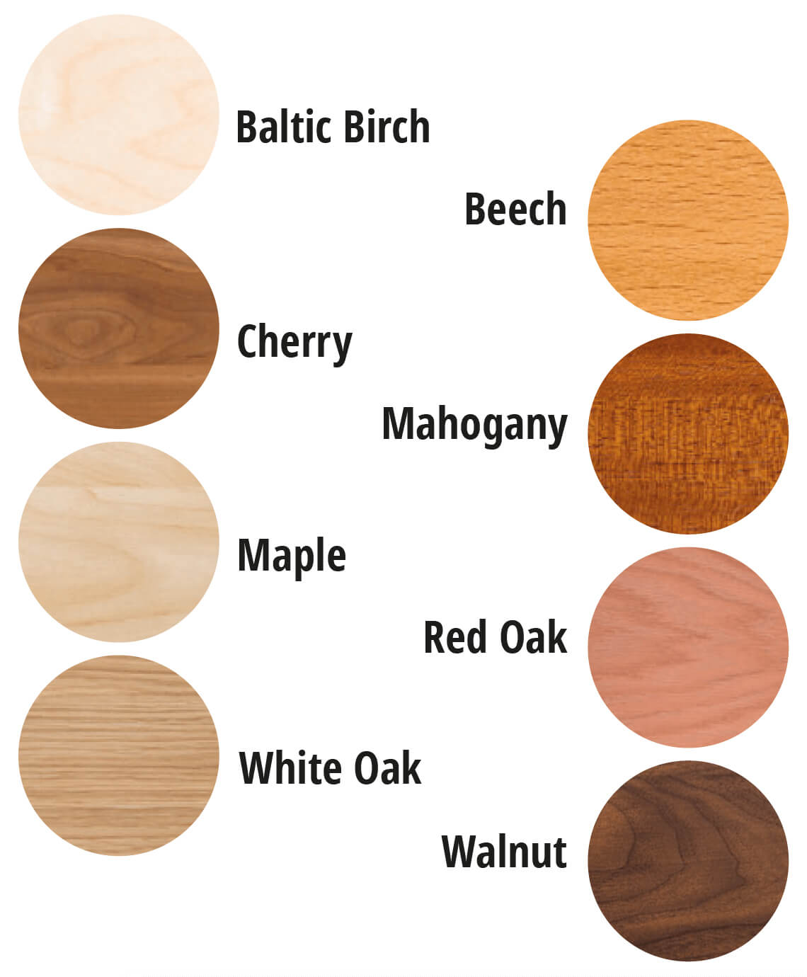 We only use fine quality solid hardwoods for our accents.